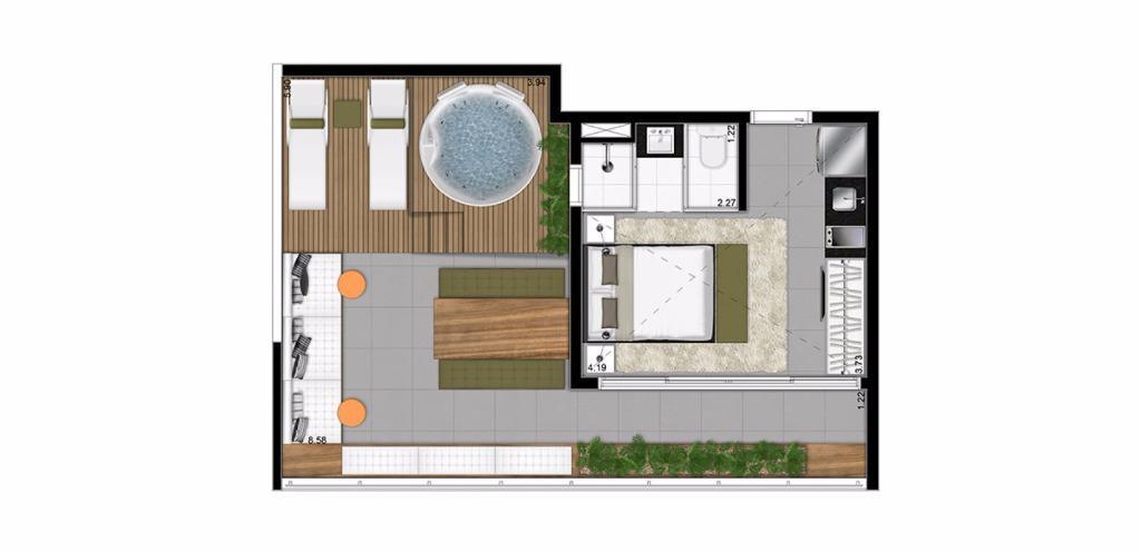 Planta UpHouse de 51 m²