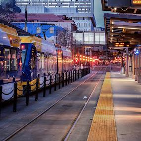 All Aboard by Peter Stratmoen - City,  Street & Park  Street Scenes ( train station, minnesota, d810, light rail, nikon, downtown, st. paul )