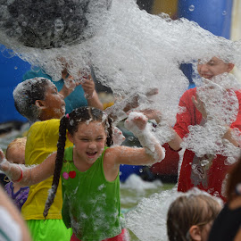 Is That Santa Jr? by Thomas Shaw - People Street & Candids ( kids, fun, machine, raleigh, the works, north carolina, playing, suds, girl, fourth of july, having, soap, boy, foam )