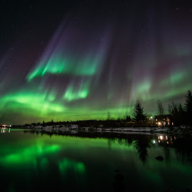 Aurora by Viktoras Kaubrys - Landscapes Weather ( reflection, winter, northern lights, aurora borealis, aurora, night,  )