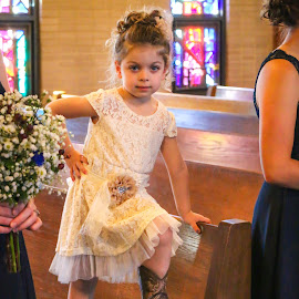 Lil Cow-Flower-Girl  by Kathy Suttles - Babies & Children Children Candids ( country wedding, wedding, wearing boots, cowgirl, flower girl )