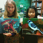 Students and their wonderful dragon and bird paintings!
