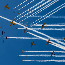 Cluster in the Sky by Patrick Barron - Transportation Airplanes ( oshkosh, eaa, general aviation, airventure, formation )