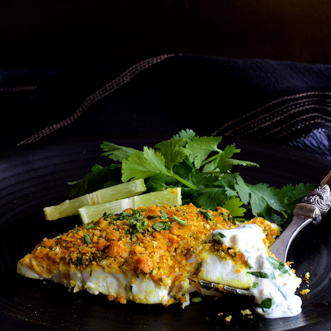 Curried Chickpea-Encrusted Barramundi with Jalapeno Lime Tartar Sauce