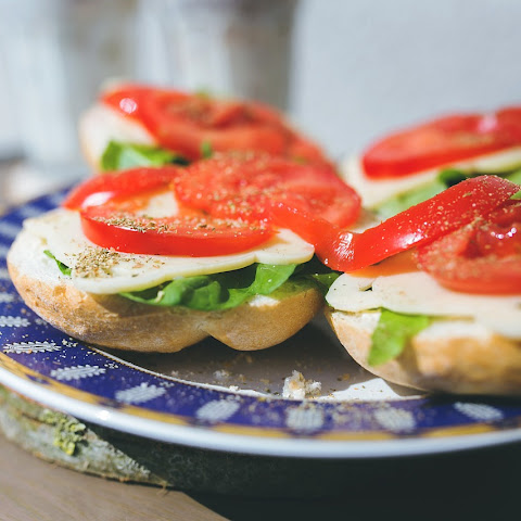 Tomato, Basil, and Mozzarella Sandwiches