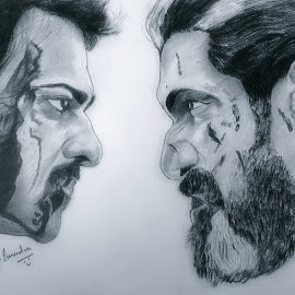 baahubali 2  by Surender Gangineni - Drawing All Drawing ( love, epic, battle, fight, bestoftheday, prabhas, art, movie )