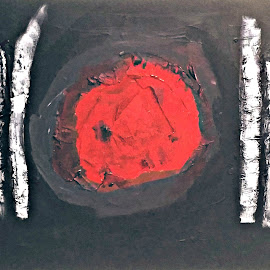 Plating by Daniel Bumstead - Abstract Patterns ( abstract, dinner, red, painting, black )