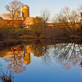 Timeless by Reva Fuhrman - Landscapes Waterscapes ( farm water reflection fall trees )