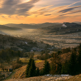 Rural Sunrise by Iulian Astilean - Landscapes Sunsets & Sunrises ( countryside, clouds, hills, 500 px, sky, trees, cloudscape, sunrise, landscape, rural, mist )