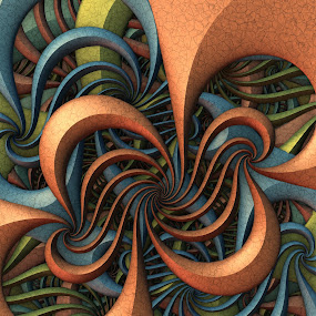 Swingtime by Lyle Hatch - Illustration Abstract & Patterns ( wavy, abstract, curvy, spirals, patterns, 3d, mandelbulb 3d, curls, 3-d, three dimensional )