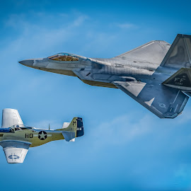 F22-Raptor & Mustang P51 by Anthony P Morris - Transportation Airplanes ( f22raptor, p51, mustang, plane, anthony morris, f22, raptor, mustangp51, planes )