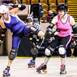 Playing on the Edge by Michael Stefanich Jr. - Sports & Fitness Other Sports ( #athlete, #sports, #girl, #indoor, #mikestefanichjr, #roller, #action, #derby )