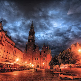 Wroclaw by Adam Lang - City,  Street & Park  Historic Districts ( street, night, wroclaw, city, poland )