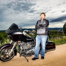 Me and my Harley by Evan Jones - People Portraits of Men ( clouds, harley, harley davidson, yellowstone, dramatic, motorcycle, self portrait, black, man )