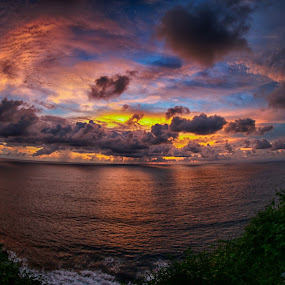 Sunset In Monkey Temple  Uluwatu by JNJ PhotoStream - Landscapes Sunsets & Sunrises ( bali, travel locatoin, indonesia, sunset, canon eos-1d x, fish eye, portrait )