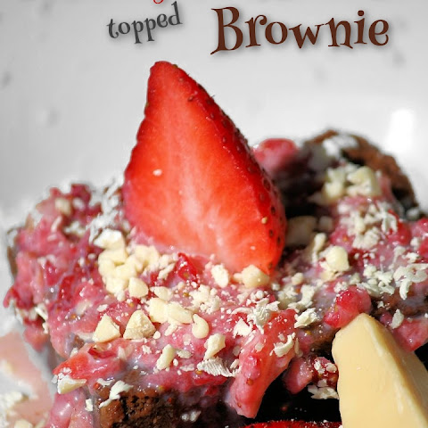 Strawberry-White Chocolate Smothered Brownie