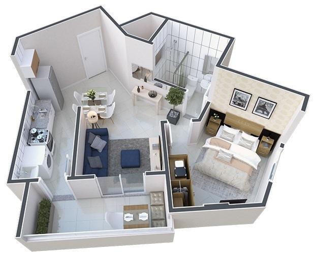 Apartamento de 1 dormitório em Vila Tupi, Praia Grande - SP