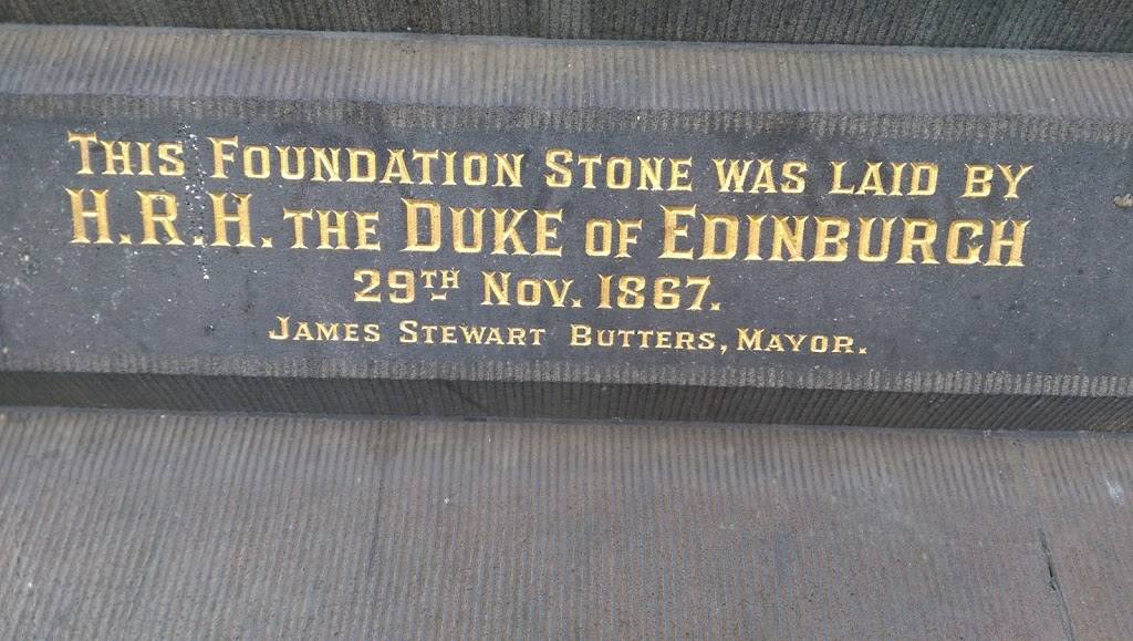 Located on the Melbourne Town Hall on Colllins St. Reads: THIS FOUNDATION STONE WAS LAID BY H.R.H. THE DUKE OF EDINBURGH 29TH NOV. 1867 JAMES STEWARD BUTTERS, MAYOR ________________________ Submitted ...
