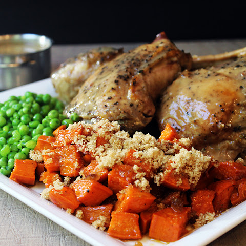 Slow Cooker Turkey with Gravy, Candied Sweet Potatoes & Green Peas