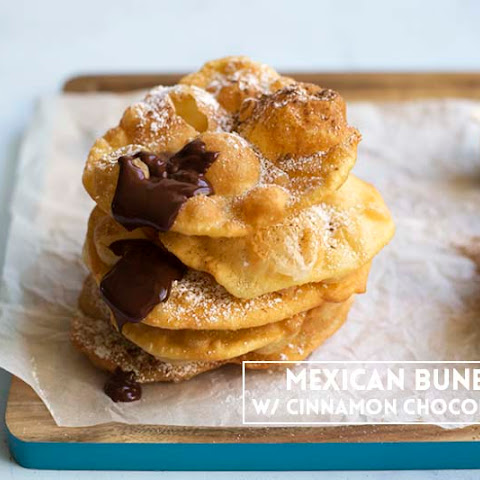 Mexican Buñuelos with Cinnamon Chocolate Sauce