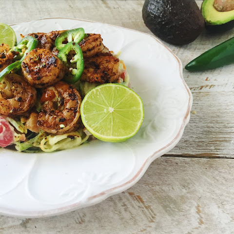 Zoodles with Blackened Shrimp and Avocado Yogurt Sauce [Gluten Free, Low Carb]