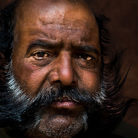 intriguing! by Rajarshi Mitra - People Portraits of Men ( face, rajasthan, indian, intense, moustache, man, portrait, pwcfaces-dq )