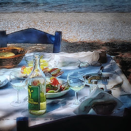 Lunch on the coast by Mirko Ilić - Instagram & Mobile Android ( wine, blue, food, lunch, lesbos, greek salad, island )