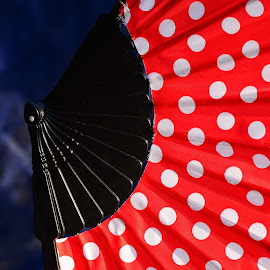 Hand Fans by Prasanta Das - Artistic Objects Clothing & Accessories ( polka dots, red, had fan )