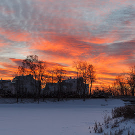Winter sunset by Glen Darrud - Landscapes Sunsets & Sunrises ( red, winter, sunset, snow, white, house )