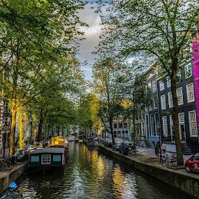 Waterway in Amsterdam by Hariharan Venkatakrishnan - City,  Street & Park  Neighborhoods ( #sunset #amsterdam #waterway #sunandshade #serene,  )