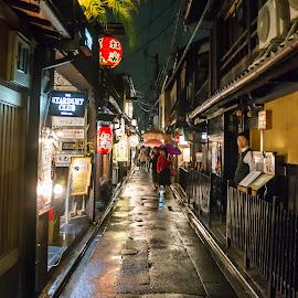 Kyoto Alley by Sue Matsunaga - City,  Street & Park  Street Scenes