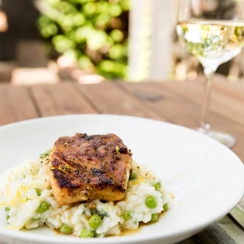 Miso & Maple-Marinated Cod with Sweet Pea Risotto