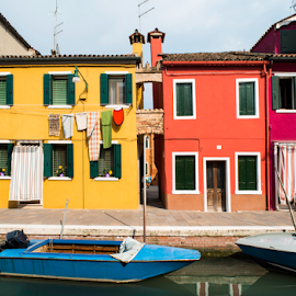 Multicolored houses in Venice by Deyan Georgiev - Landscapes Travel ( old, reflection, italian, europe, exterior, colorful, bright, street, house, architecture, travel, landscape, venetian, city, multicolored, island, sunny, mediterranean, veneto, italy, water, building, adriatic, houses, beautiful, burano, tourism, boat, canal, venezia, urban, landmark, european, red, vacation, color, blue, outdoor, venice, summer, view, town, channel )