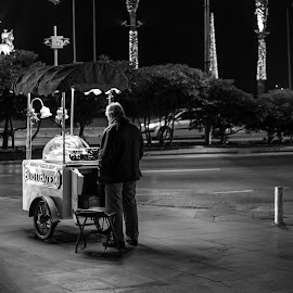 The food seller by Grigoris Koulouriotis - People Professional People ( street light, street life, night photography, night scene, street, night, turkey, working, night shot, man, street photography, izmir,  )