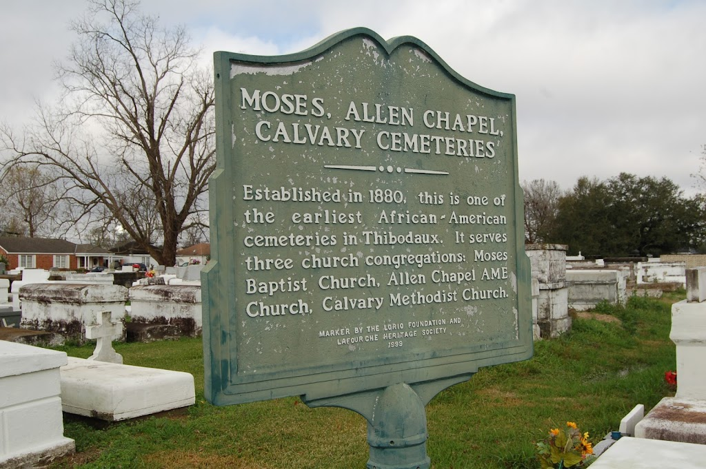 Established in 1880, this is one of the earliest African-American cemeteries in Thibodaux. It serves three church congregations: Moses Baptist Church, Allen Chapel AME Church , Calvary Methodist ...