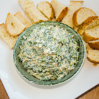 Simple Spinach Dip with Toasted Breadsticks