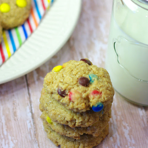 Chewy Oatmeal Cookies with M&Ms