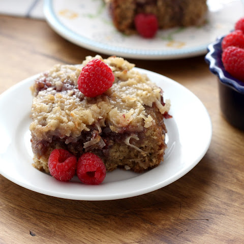 Raspberry Oatmeal Cake with Coconut Broiled Frosting