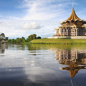 Reflections of a structure by Tan  Kian Yong - Buildings & Architecture Public & Historical ( riverside, kuching, malaysia, waterfront, sarawak )