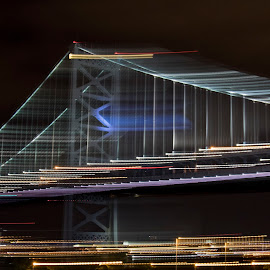 Bridge with Lighting Swipes by Mary Malinconico - Abstract Patterns ( lighting, bridge )