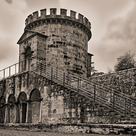 The Old Guard House - B&W by Garry Dosa - Black & White Buildings & Architecture ( b&w, outdoors, penetentiary, black, autumn, prison, toned sepia, stone, tower )