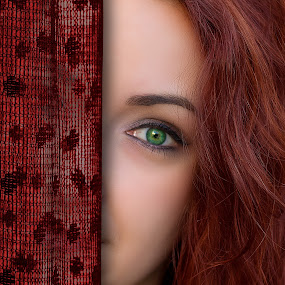 Behind the curtains by Cosmin Lita - People Body Parts ( girl, red, green eyes, eyes, curtain,  )