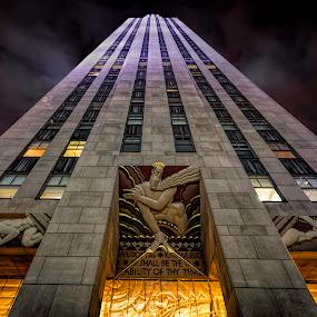 Rockefeller Plaza by Jim Hamel - Buildings & Architecture Office Buildings & Hotels ( building, rockefeller, night, architecture, new york )