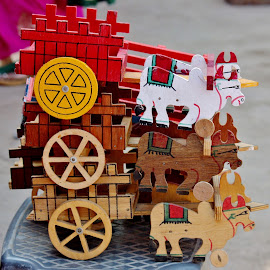 Even my grandpa knew how to play with this ! by Anoop Namboothiri - Artistic Objects Toys ( wooden, market, toy, colorful, anoop namboothiri, cart, display, bullock,  )