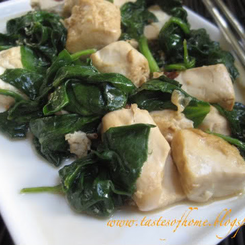 Spinach Tofu with Salted Fish Stir-fry