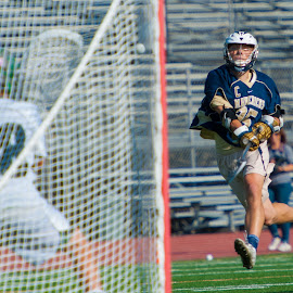 Shot on the way by Kevin Mummau - Sports & Fitness Lacrosse ( long pole, goalie, save, shot, lacrosse )