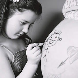 Drawing for her brother  by Ivana  Todorovic - People Maternity ( sister, draw, maternity, mother, new life, baby, brother, drawing )