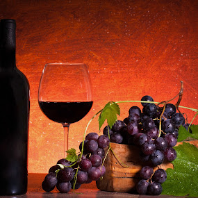 Still Life With Bottle Of Wine And Grapes by eZeepics Studio - Food & Drink Alcohol & Drinks ( seasonal, leaves, life, grapes, grape, still-life, drink, composition, glass, light, gourmet, wine, orange, fruit, vintage, green, still, bottle, red, beverage, classical, alcohol, food, background, brown )