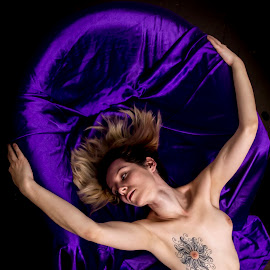 Framed in purple by James Wayne - Nudes & Boudoir Artistic Nude ( nude, figure art, boudoir, modeling, art, bodysculpture, low key photography, portrait )
