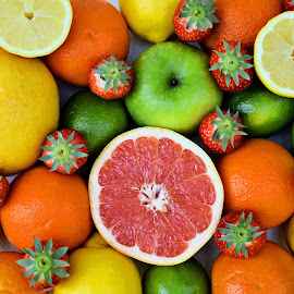 Fruity by Heather Aplin - Food & Drink Fruits & Vegetables ( orange, juicy, citrus, apple, strawberries, limes, grapefruit, lemon,  )